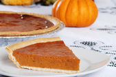 Slice of fresh baked pumpkin pie — Stock Photo