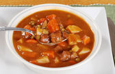 Spoonful of beef stew — Stock Photo