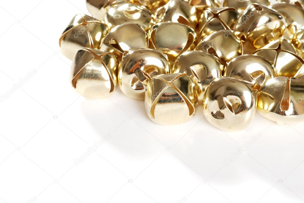 Closeup of gold christmas bells — Stock Photo #4427347