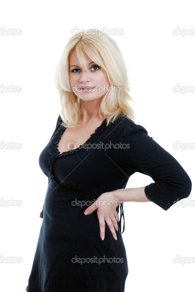 Isolated middle aged blond woman smiling on white background  — Stock Photo #4427471