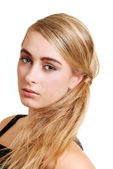 Young blond woman side portrait — Stock Photo