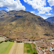 Village of Pisac and Urubamba River — Stock Photo