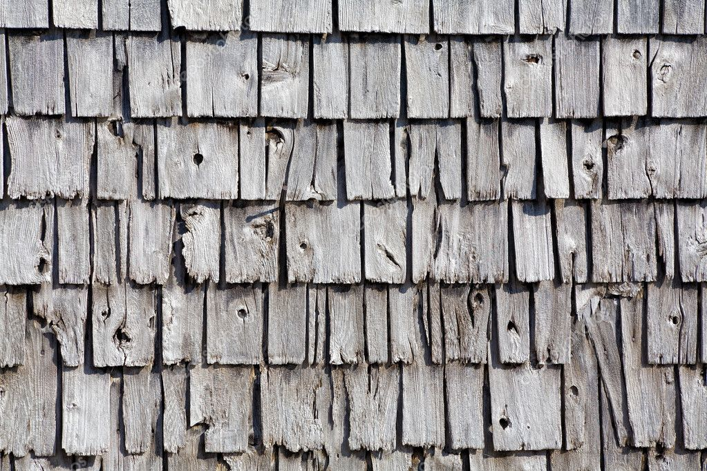 Old wooden shingle siding. Can be used as a background — Stock Photo #5317627