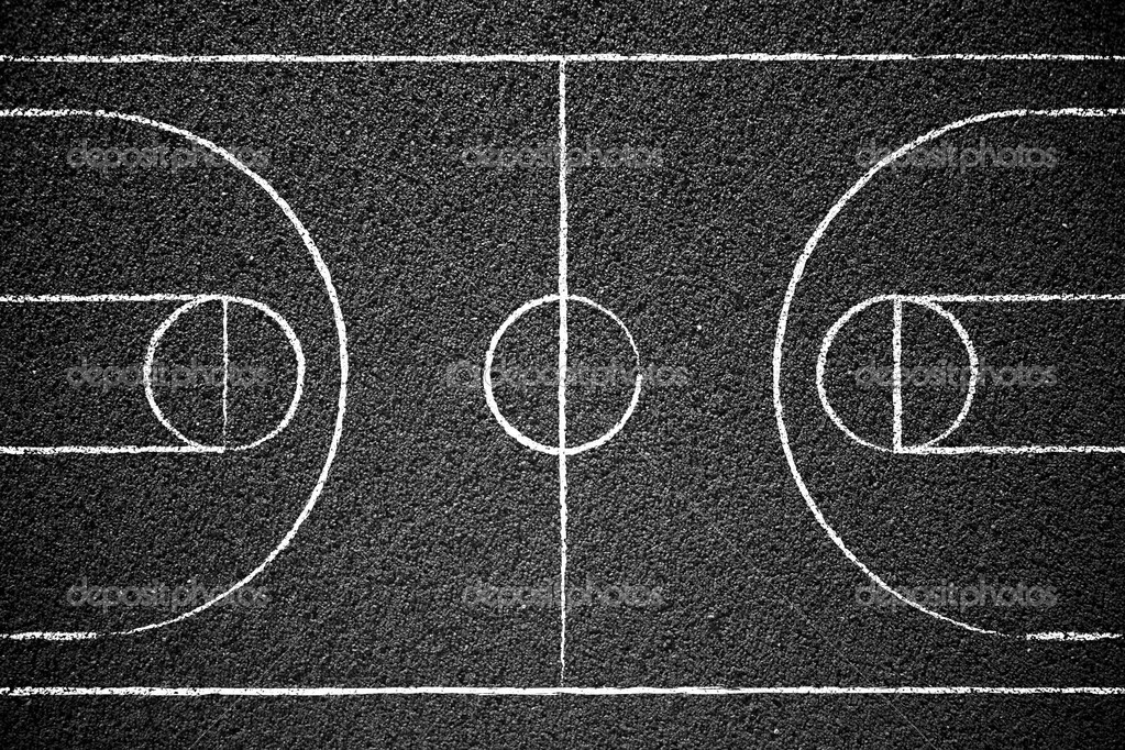Street ball court with chalk drawn lines. — Stock Photo #4057977