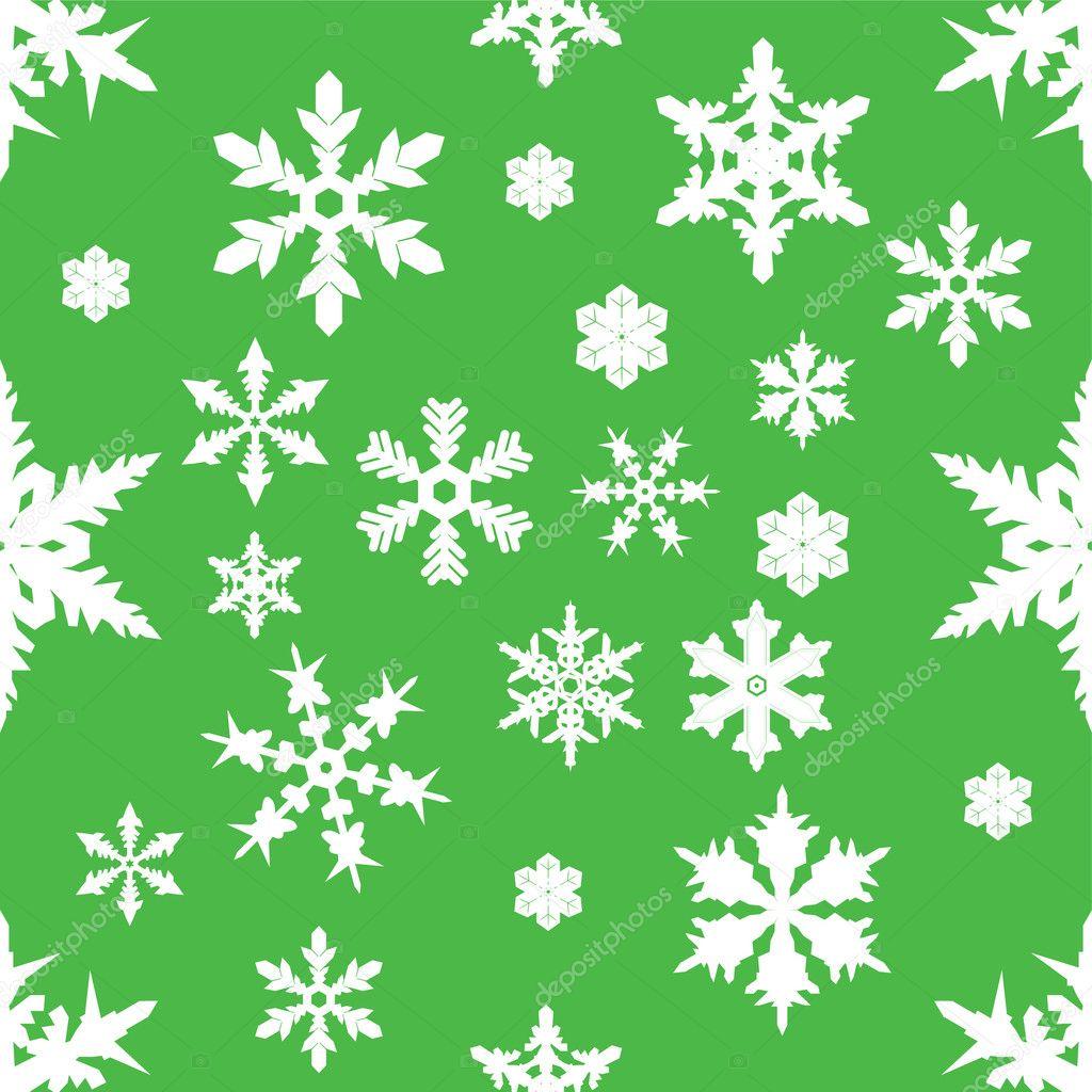 Snowflake Christmas Wrapping Paper Seamless green snowflake