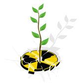 壊れたサイン核危険と再生可能エネルギー — ストックベクタ