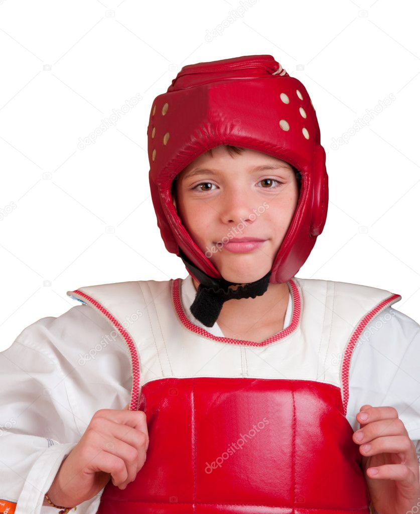 The smiling boy in sports одеже for employment taekwondo — Stock Photo #4010192