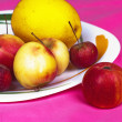 Dish with apples — Stock Photo