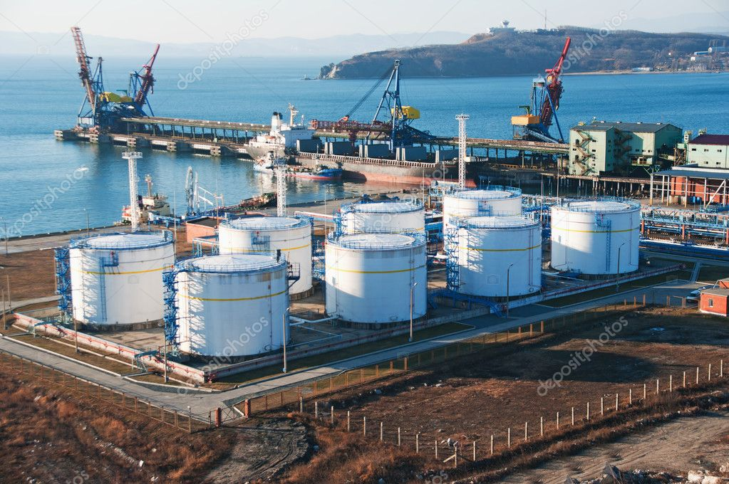 The petrochemical terminal for loading of chemicals on a vessel  Stock Photo #4350126