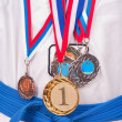 Teenage Boy Wearing Winning Medal — Stock Photo