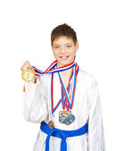 Teenage Boy Wearing Winning Medal — Stock Photo