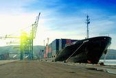 Navire de cargaison dans un port — Photo