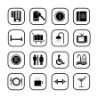 Hotel icons, B&W series - Stock Vector