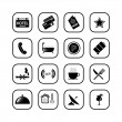 Stock Vector: Hotel icons, B&W series