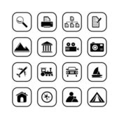 Photo and travel icons, B&W series — Stock Vector