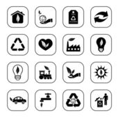 Environmental icons - B&W series — Stock Vector