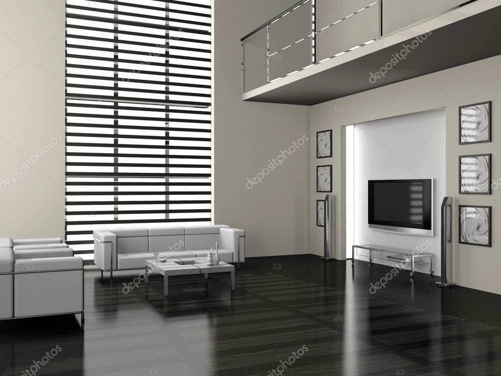 Modern interior of a living room  3D  Stock Photo #4338304