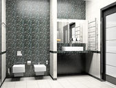 Modern interior of a bathroom 3D — Stock Photo