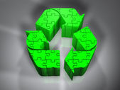 Recycling symbol - Puzzle - 3D — Stock Photo
