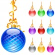 Christmas colourful balloons - Stock Vector