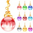 Christmas colourful balloons — Stock Vector