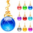 Christmas colourful balloons — Imagen vectorial