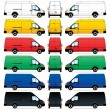 Stock Vector: Isolated Delivery Vans