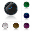 Different colors clock set — Stockvectorbeeld