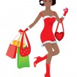 Happy shopping girl — Stock Vector #4263578