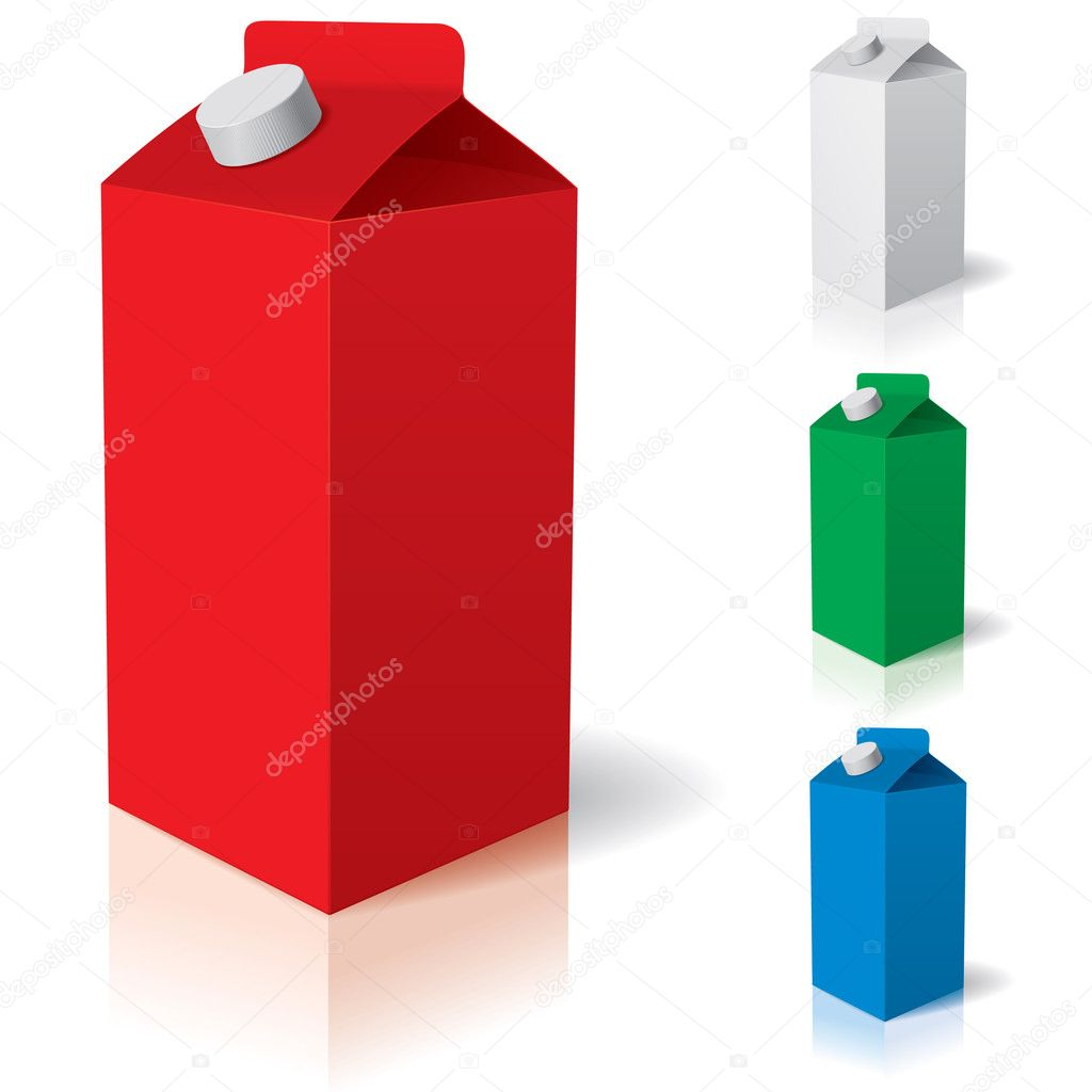 Clean carton tetra pak. Vector illustration of box or carton of milk. — Stok Vektör #4424029