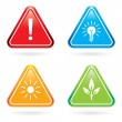Triangle signs or icons. — Stock Vector