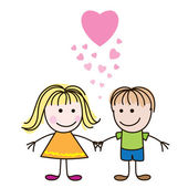 Boy and girl with hearts — Stock Vector