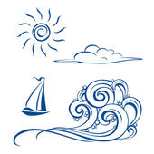Boat waves, clouds and sun — Stock Vector