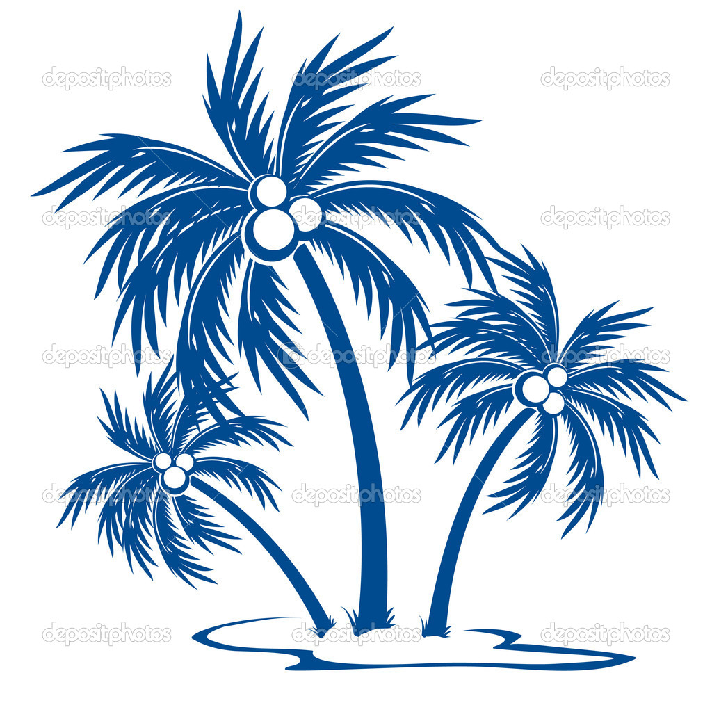 Silhouette Palm trees with coconuts. One-colour vector symbol on white. — Stock Vector #4814007