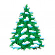 Stock Vector: Green fur-tree covered with snow