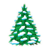 Green fur-tree covered with snow — Stock Vector