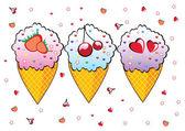 Tres conos de helado. — Vector de stock
