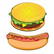 Appetizing Hotdog and Sandwich. - Stock Vector