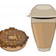 Coffee in a styrofoam cup and donut — Stock Vector