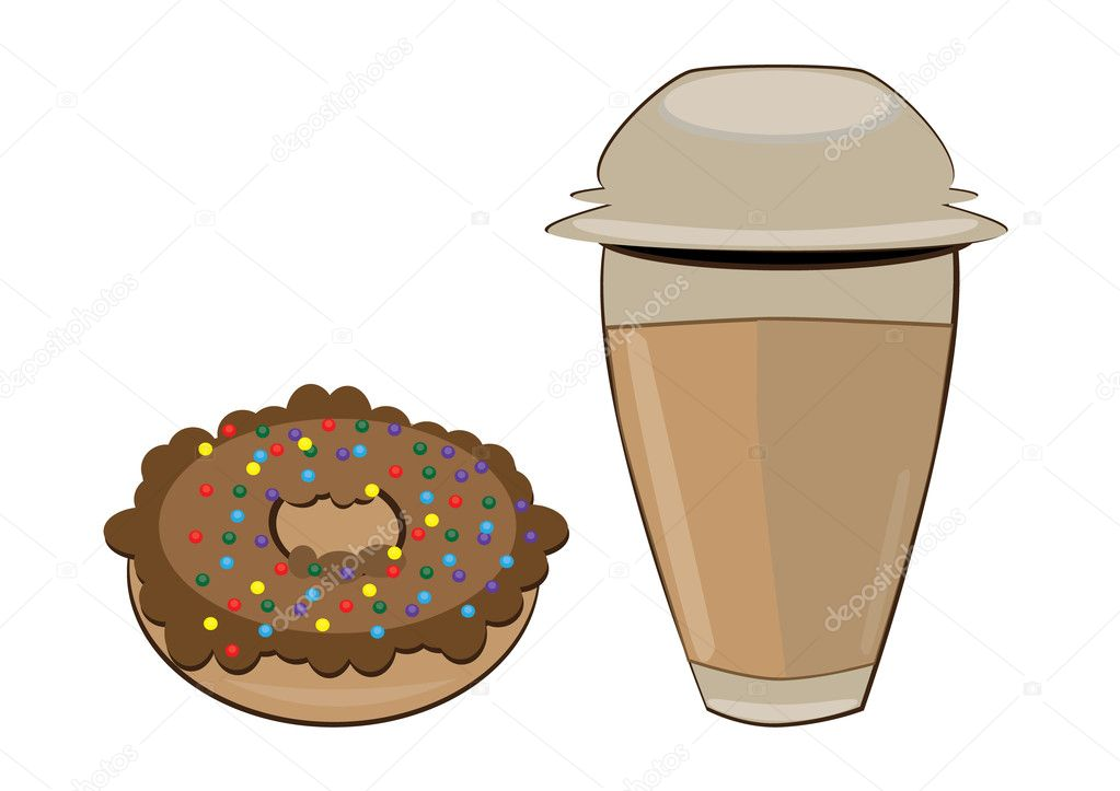Coffee in a styrofoam cup and donut. Vector illustration on white background — Stock Vector #5019573