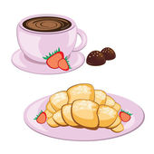 Coffee in round mug and croissant — Stock Vector
