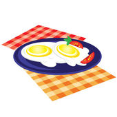 Lunch is fried on a plate — Stock Vector
