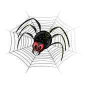 Cute spider on web — Stock Vector