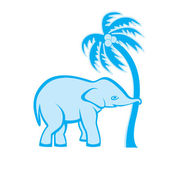Elephant and palm tree — Stock Vector