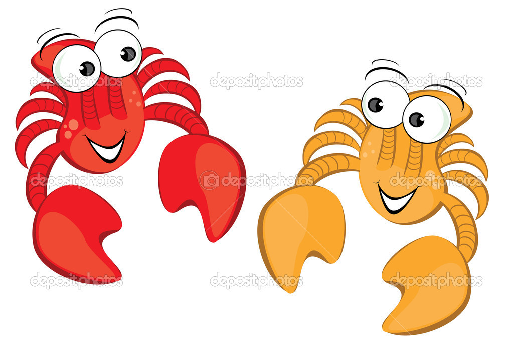 Two funny cartoon crab. Illustration isolated on white background — Stock Vector #5189809
