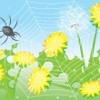 Cartoon spider and dandelions. — Stock Vector