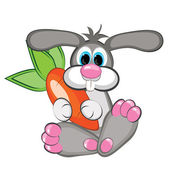 Rabbit with a giant carrot — Stock Vector