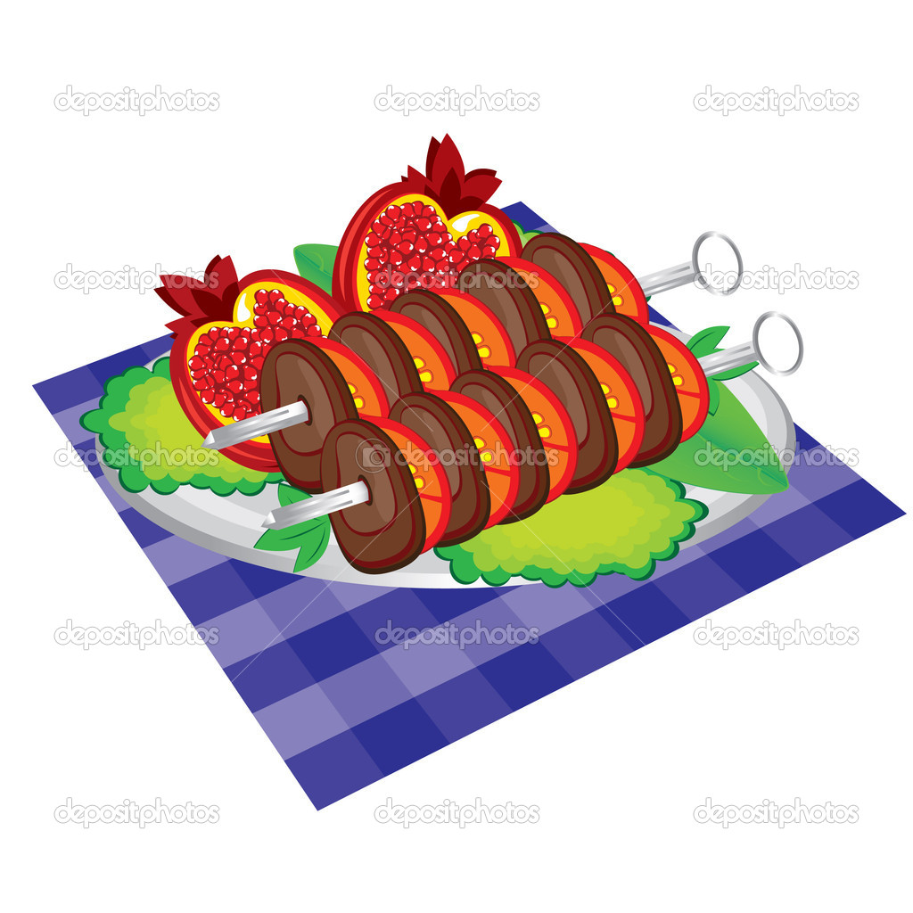 Set of appetite grilled meat and vegetables. Isolated on white  — Stock Vector #5323337