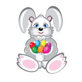 Bunny With Easter Eggs — Stock Vector