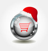 Metal button with shopping icon — Vetor de Stock